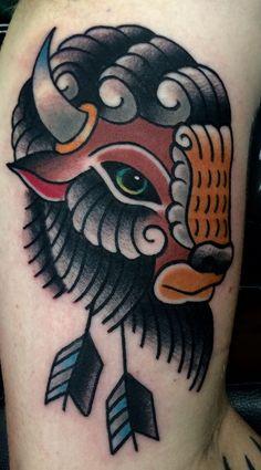 Buffalo tattoo by tony nos. buffalo tattoo by tony nos traditional tattoo animals Arrow Tattoos, Leg Tattoos, Body Art Tattoos, Sleeve Tattoos, Tatoos, Ox Tattoo, Bison Tattoo, Traditional Tattoo Old School, Traditional Style Tattoo