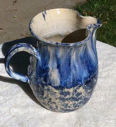 Beautiful Art Pottery Blue Spongeware Pitcher