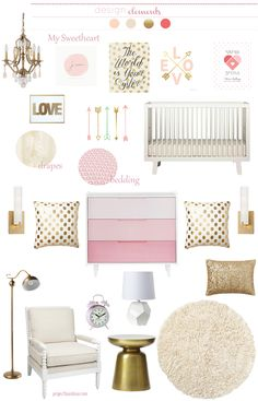 Plenty of pink & gold nursery inspiration - add Caden Lane's pink & gold ruffle baby bedding and the room's complete! Nursery Themes, Nursery Room, Kids Bedroom, Baby Room, Nursery Ideas, Bedroom Ideas, Bedroom Decor, Project Nursery, Nursery Decor