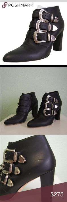 Manolo Blahnik Triple-buckle Black Ankle Booties This booties are in excellent condition with a few small scuffs! Sold out at Neiman Marcus! Manolo Blahnik Shoes Ankle Boots & Booties