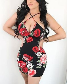 Red Roses Print Criss Cross Neck Strappy Dress Shop- Women's Best Online Shopping - Offering Huge Discounts on Dresses, Lingerie , Jumpsuits , Swimwear, Tops and More. Tight Dresses, Sexy Dresses, Cute Dresses, Fashion Dresses, Floral Dresses, Trend Fashion, Womens Fashion, Fashion 2018, Ladies Fashion