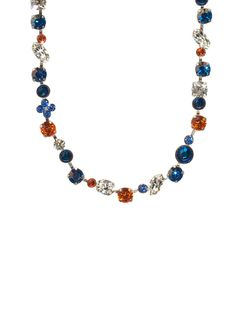 Swarovski Crystal & Opaque Stone Classic Line Necklace - Collegiate Collection in Orange Crush by Sorrelli