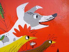 Roger Duvoisin (1900 – 1980) - Swiss-born American writer and illustrator. illustration, drawing, art, design, modern, mid-century, retro, vintage, children, picture, book, dog, rooster, chicken