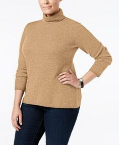 Charter Club Plus Size Cashmere Turtleneck Sweater, Only at Macy's | macys.com