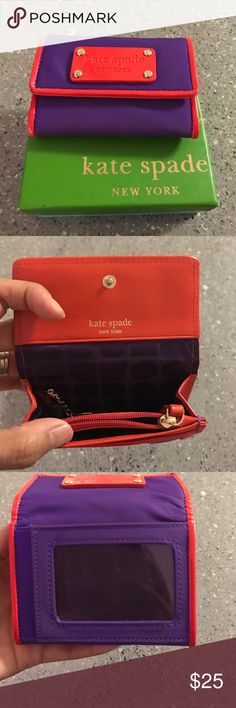 Kate Spade mini wallet Nylon with leather trim wallet with four interior slots for cards/cash plus zippered coin pocket and key ring. Exterior had clear ID slot and an additional slot - this holds a lot for such a small item! Comes with box shown. kate spade Accessories Key & Card Holders