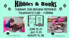Therapy dogs still visit in the summer!  First reading sessions are June 12th!