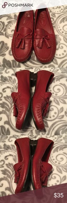 """🌺 JUST IN Cole Haan red tasseled loafers size 6B Red tasseled loafers by Cole Haan in GUC  Issues are not visible during wear. Soles are in good condition with very light wear. There's just some marks from storage.   Any issues with the shoes are shown in the 4th and 5th pics  Size 6 b   Selling new at $180  For questions about bundle discounts, offers, shipping, how your purchase supports our troops, free bonus gifts, etc, please see my """"meet the posher page!"""" 💜  Anything priced $10 and…"""