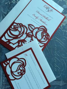 Laser Cut Wedding Invitations Red Roses Wedding by CelineDesigns