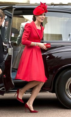 Duchess Kate Middleton popped in red at the Order of the Garter service, but what piece of jewelry did she originally wear at her wedding?! Get the answer!