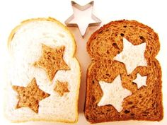 Cute stars: 2 different kinds of bread (dark & light), cut out identical shapes and replace in other bread