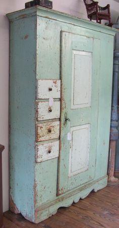 Vintage Cupboard Hutch. Fantastic paint color!
