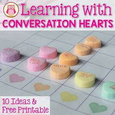 Conversation Heart Learning Activities! 10 fun ideas to use with your kids plus get a free printable graph. Great Valentine's Day math activities for kids.