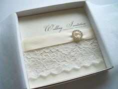 VIntage Design Square wedding invitation Diamante lace | eBay
