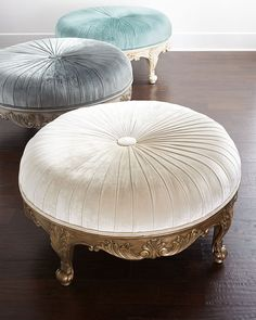 """#ONLYATNM Only Here. Only Ours. Exclusively for You. Ottoman features an intricately detailed base and button-tufted seating. Mahogany frame. Rayon upholstery. 39""""Dia. x 20""""T. Made in the USA of impor"""