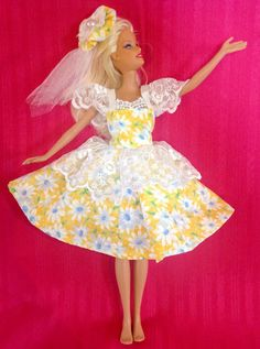 Yellow Flower Barbie Dress and Hat by SusanCarolFashions on Etsy, $12.00