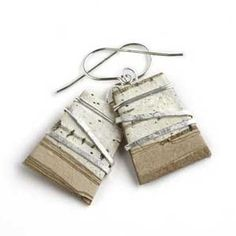 Tessoro jewelry features birch bark and silver wire. These earrings are as light as a feather.