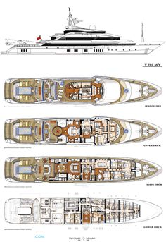 Alfa Nero Luxury Yacht deck plans