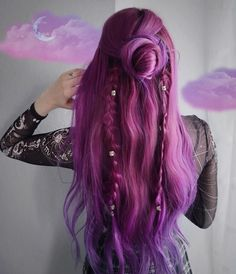 Sugar Plum Fantasy Stunning whimsical style on Mary Pohlmann using our Plum + Orchid Purples # Hair Color Purple, Cool Hair Color, Hair Colors, Long Purple Hair, Bright Purple Hair, Dyed Hair Purple, Ombre Hair, Color Blue, Pretty Hairstyles