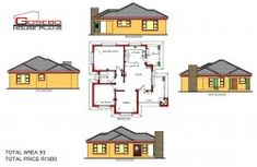 To Be Build at Drikop (Limpopo) Modern Bungalow House Plans, Bungalow Floor Plans, Bungalow House Design, House Floor Plans, Modern Houses, Four Bedroom House Plans, Family House Plans, Country House Plans, Free House Plans