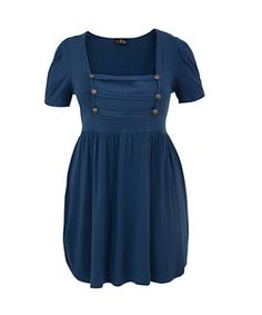 Blue (Blue) Lovedrobe Blue Military Button Square Neck Dress    282435140   New Look
