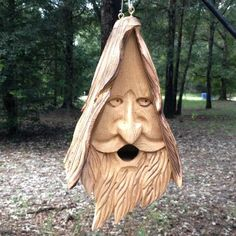 'Wood Spirit Unique Old Man Rustic Hand Carved Cedar Bird House | eBay. order 2 please unless you want one and then make it 3. :D
