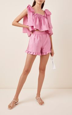 Joselyn Ruffle-Hem Twill Shorts by Stine Goya Summer Outfits, Casual Outfits, Cute Outfits, Only Shorts, Men's Shorts, Ruffle Shorts, Ruffle Top, Ruffles, Daily Fashion