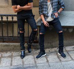 Sneakers plaid shirt all Black men Style tumblr