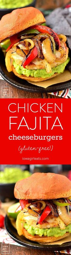 Chicken Fajita Cheeseburgers are a festive and fun gluten-free dinner recipe! Grill outdoors or in a skillet indoors. | http://iowagirleats.com