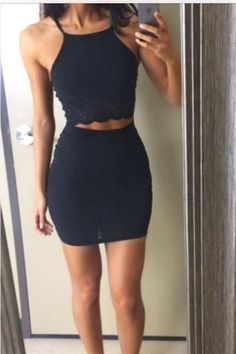 Navy Lace Chiffon V Neck Homecoming Dress