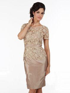 Sheath/Column Jewel Short Sleeves Lace Knee-Length Taffeta Mother of the Bride Dresses