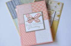 handcrafted cards from made by meditated shine ... quilt look with patches of patterned paper .... machine zig zag stitching along the lines ...  great cards ... Stampin' Up!