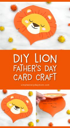 Make this fun and easy lion card craft for Father's Day. It's a sweet homemade card Dad or Grandpa will love getting. Perfect for kindergarten & elementary Crafts For Kids To Make, Projects For Kids, Craft Kids, Activities For Girls, Easter Activities, Fathersday Crafts, Lion Craft, Weaving For Kids, Toddler Preschool