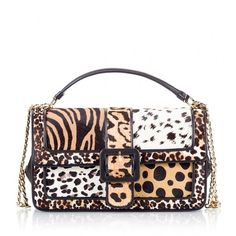 Ballin - ALCEDO Multi-animal-print ponyhair chain strap clutch (£645) ❤ liked on Polyvore featuring bags, handbags, clutches, animals, leather handbags, leather cross body purse, white leather handbags, genuine leather handbags and animal print purses