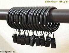 Md trade 40 Pcs-Premium Drapery Curtain Rings with Clips - Thickening - Black ** For more information, visit image link. (This is an affiliate link and I receive a commission for the sales) No Sew Curtains, Ikea Curtains, Black Curtains, Panel Curtains, Curtain Rings With Clips, Curtain Clips, Curtains With Rings, Thing 1, Black Windows