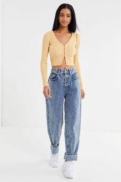 UO Julie Ribbed Hook Eye Cropped Cardigan - Mom Jeans - Ideas of Mom Jeans - UO Julie Ribbed Hook Eye Cropped Cardigan Mode Outfits, Fall Outfits, Casual Outfits, Summer Outfits, Fashion Outfits, Womens Fashion, Fashion Tips, Classy Outfits, Urban Outfits