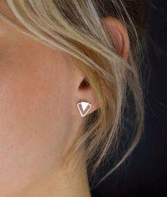 Triangle Stud Earrings Silver Stud Earrings Geometric Stud Earrings Silver Triangle put up earrings Double Triangle Earrings Earrings Uk, Gold Hoop Earrings, Diamond Earrings, Double Earrings, Simple Earrings, Piercings, Body Piercing, Black Gold Jewelry, Triangle Earrings