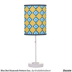 Blue Ikat Diamonds Pattern Custom Lamp