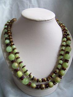 Lemon jade & brown necklace earrings by StudioDucharme on Etsy, $225.00