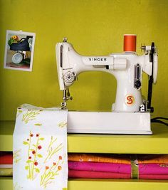 Featherweight sewing machine, white.