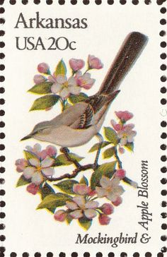 Arkansas State Flower | Arkansas State Bird and Flower | United States Stamp