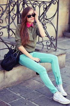 Kasia Gorol  Sandro Pants, Converse Sneakers, Mango Bag, Shirt