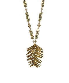 This Olive Pearl Leaf Pendant Necklace is perfect! #zulilyfinds