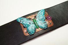 Leather Cuff Bracelet, Patinaed Butterfly | JulisJewels - Jewelry on ArtFire