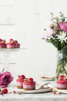 Raspberry Rose Mini Cheesecakes with Pistachio Crumble {gluten, dairy, refined sugar free} - The Kitchen McCabe Gluten Free Desserts, Vegan Desserts, Easy Desserts, Vegan Gluten Free, Dairy Free, Dessert Recipes, Grain Free, Mini Desserts, Healthier Desserts