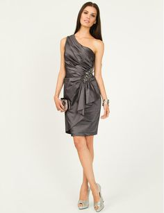 Le Château: One Shoulder Taffeta Cocktail Dress (in gunmetal) One Shoulder Cocktail Dress, Fashion Beauty, Womens Fashion, Stylish Outfits, Stylish Clothes, Holiday Dresses, Fashion Addict, Bridesmaid Dresses, Bridesmaids