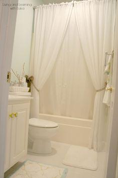 Mini DIY Bathroom Reno LOVE A White Big Fan Of Layered Shower Curtains
