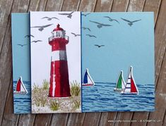 Today I am sharing the birthday card made for my lovely son. He loves the sea so the Lighthouse from the High Tide stamp set was perfect for his card. Water Images, Masculine Birthday Cards, Stamping Tools, High Tide, Bird Cards, Big Shot, White Envelopes, Lighthouse, Card Stock