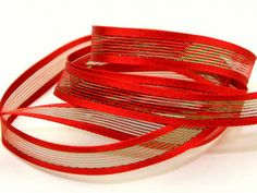 Red/Green Wired Edge Lurex Centre Stripe Ribbon for Christmas Crafts - 20 metre roll Preview
