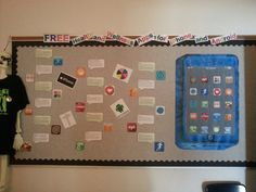 Health and Wellness Apps Bulletin Board I made for the high school I worked at - School Nurse ideas
