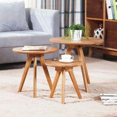 Japanese Style Round Coffee Table IKEA Wood Small Apartment Living Room  Modern Minimalist Sofa Side